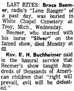 Brace Beemer Obituary