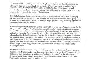 Sebastian Gorka - Congressional Letter