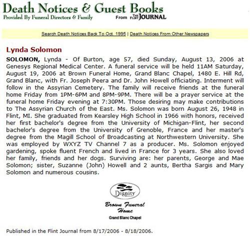 Lynda Solomon Obituary - Flint Journal