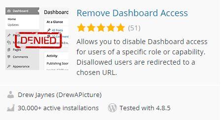 Remove Dashboard Access - WordPress Plugin
